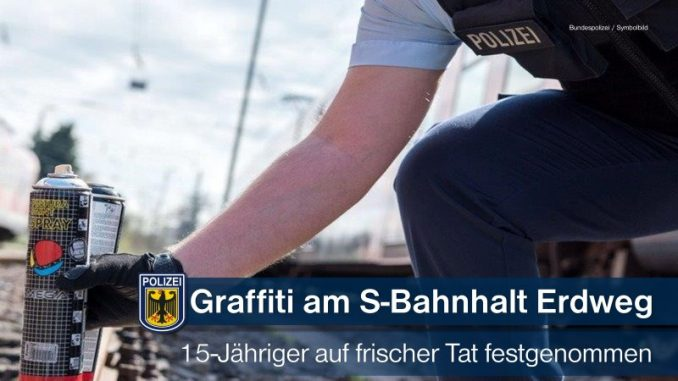 Bundespolizeidirektion München: S-Bahnhaltepunkt Erdweg besprüht - 15-Jähriger auf frischer Tat erwischt